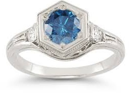 art deco blue white diamond ring