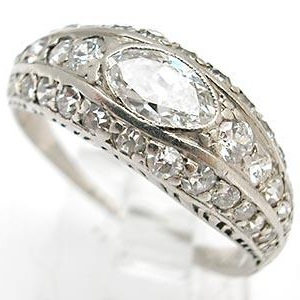vintage marquise cut diamond ring